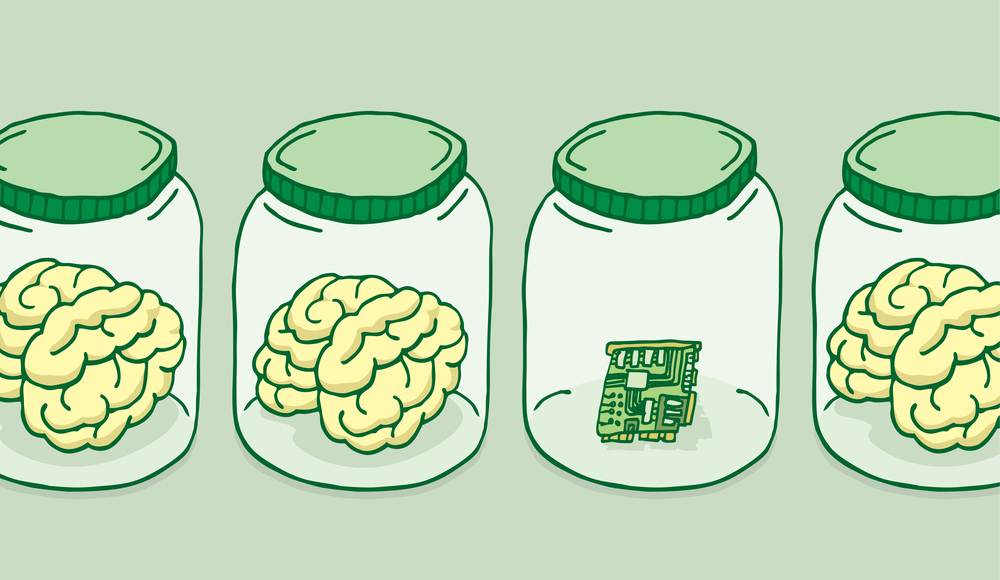 Illustration of artificial intelligence besides brains in jars